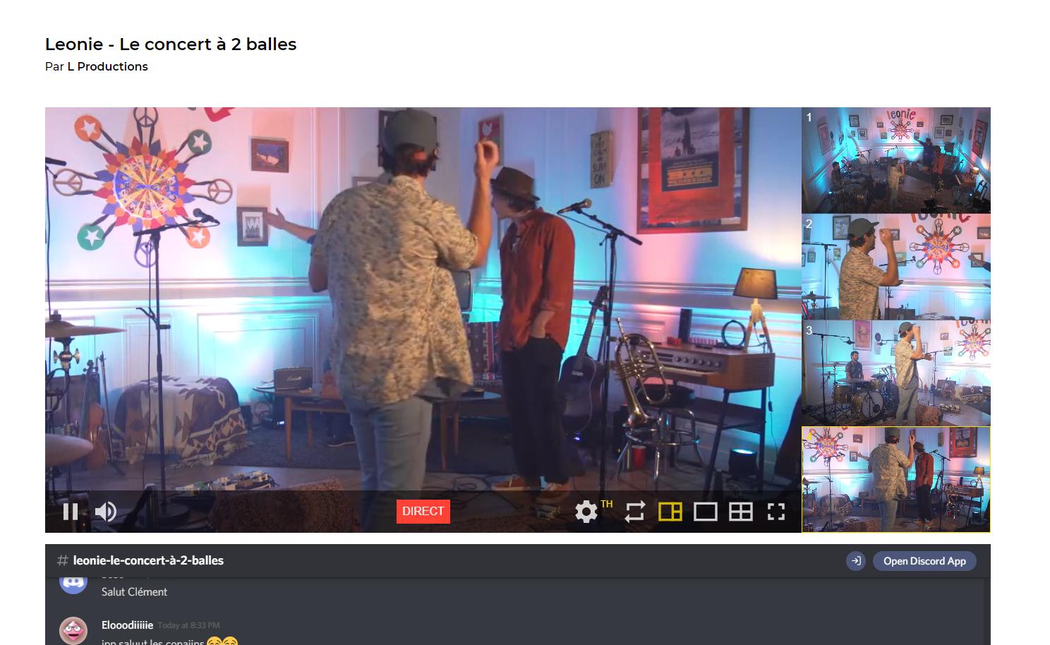 capture d'écran lors du concert virtuel du groupe Léonie