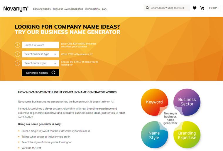 novanym company name ideas