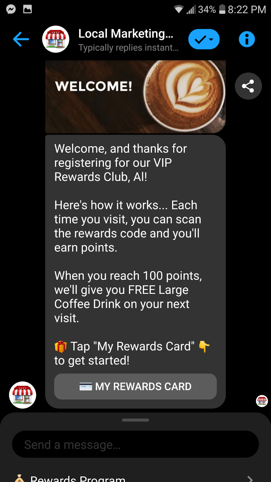 Chat Marketing Loyalty Program Example