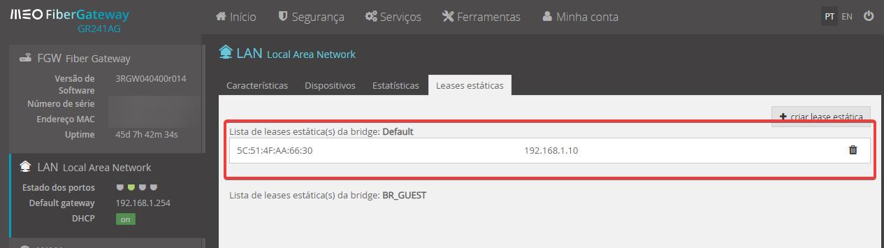FiberGateway MEO Lista de leases estática(s) da bridge: Default