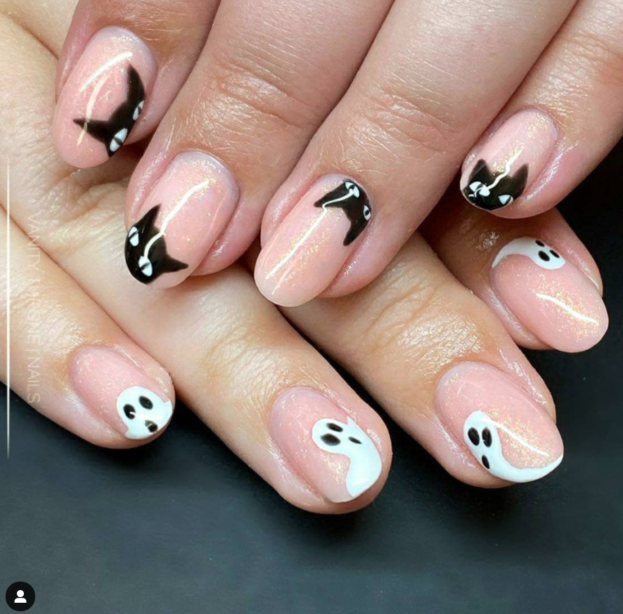 halloween cat and ghost nail art