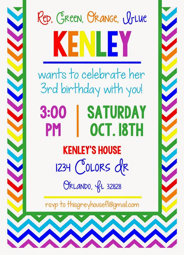 Rainbow Party Invitation by This Grey House