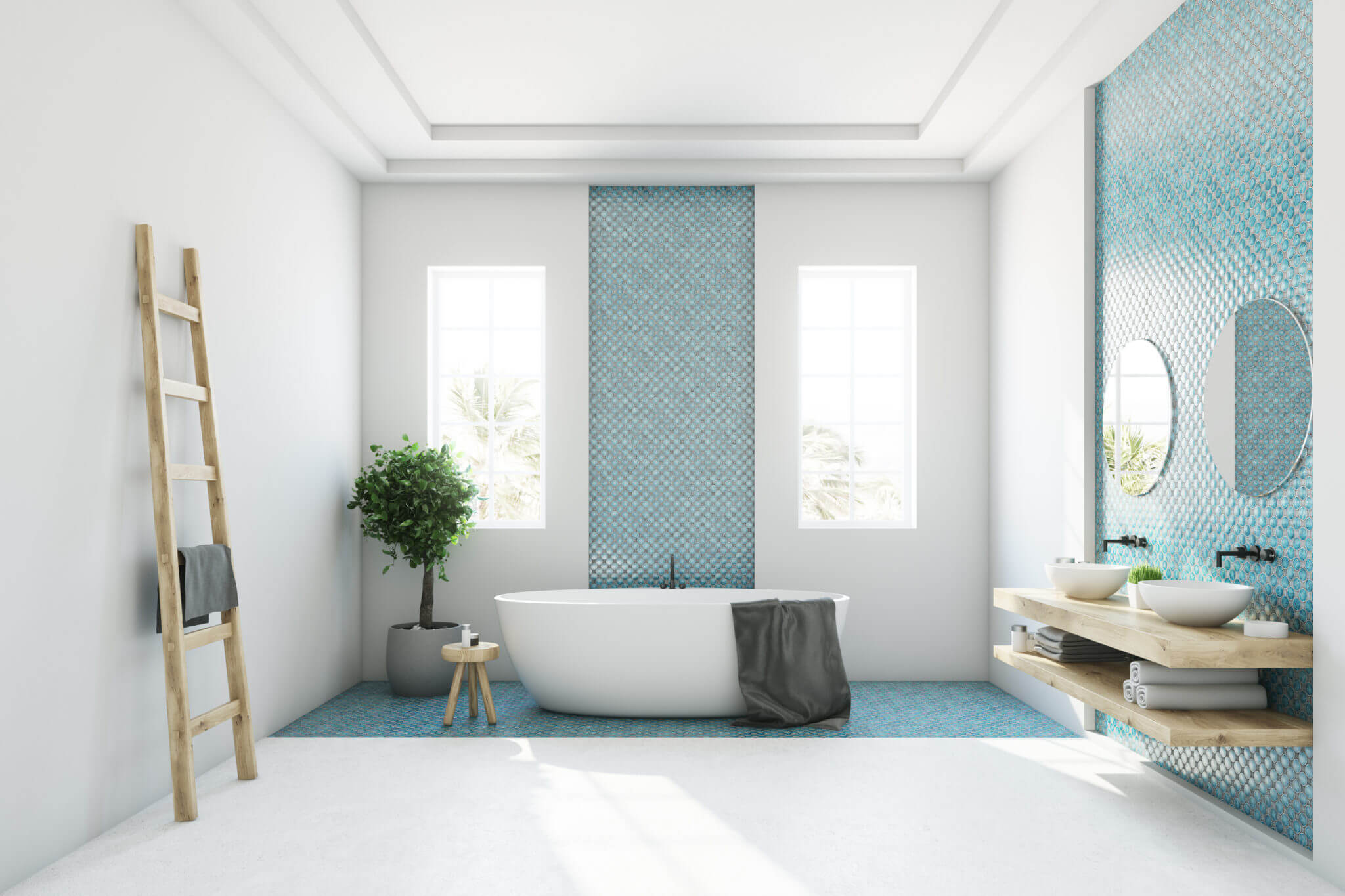 Bathroom with blue penny round tile walls and flooring