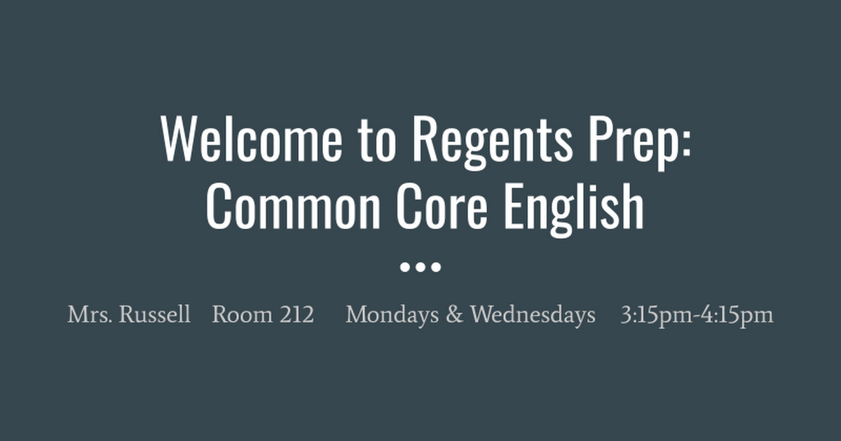 Welcome To Regents Prep Englishwheeler Google Slides
