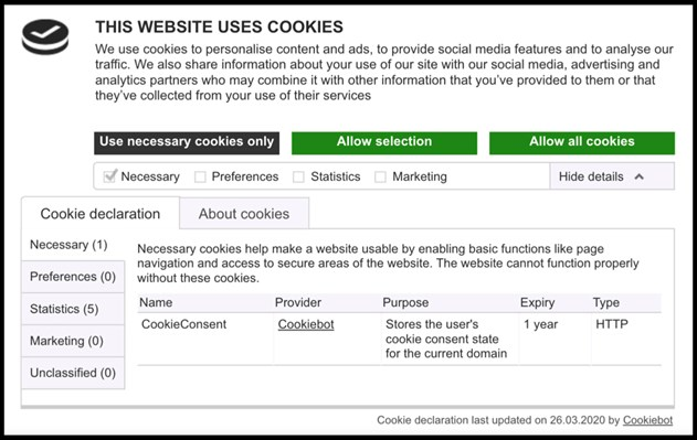 Cookiebot CMP enabling compliance with EDPB guidelines