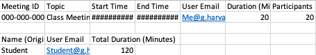 Image of a spreadsheet with the Meeting ID, Meeting topic, Start time, End Time, Host email, Meeting duration, and number of Participants at the top. Below is a list of students with their name, email, and the amount of time that they were in the room.