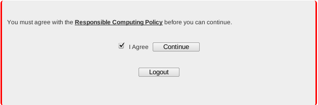Screen shot: You must agree with the Responsible Computing Policy; Check mark next to I agree, continue button