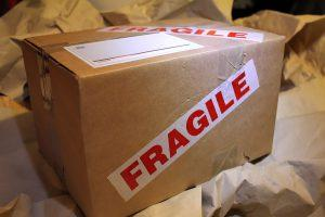 """The """"fragile"""" label on the box."""