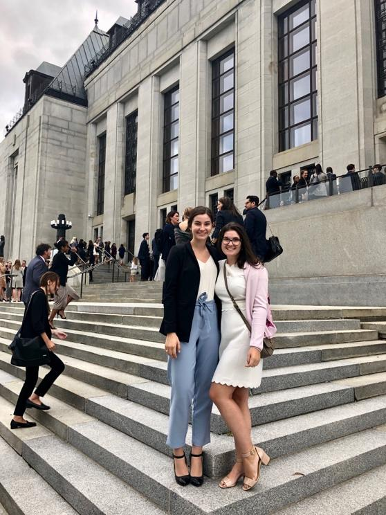 Two uOttawa's Telfer students on the stares of the Supreme Court of Canada