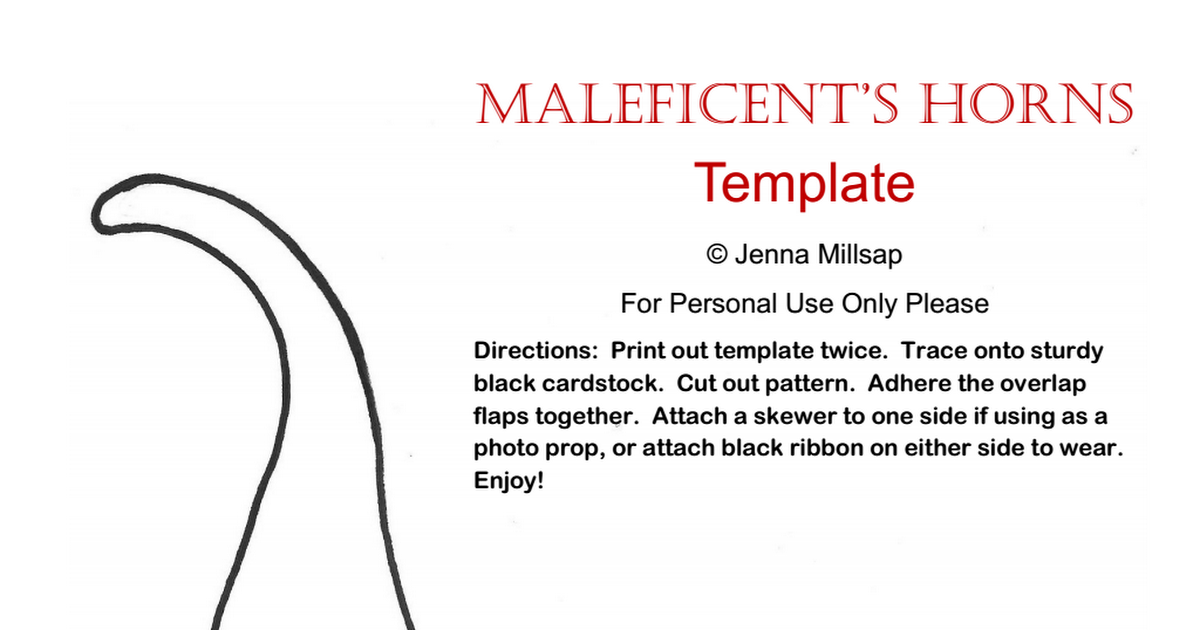 Maleficent's Horns Template pdf - Google Drive