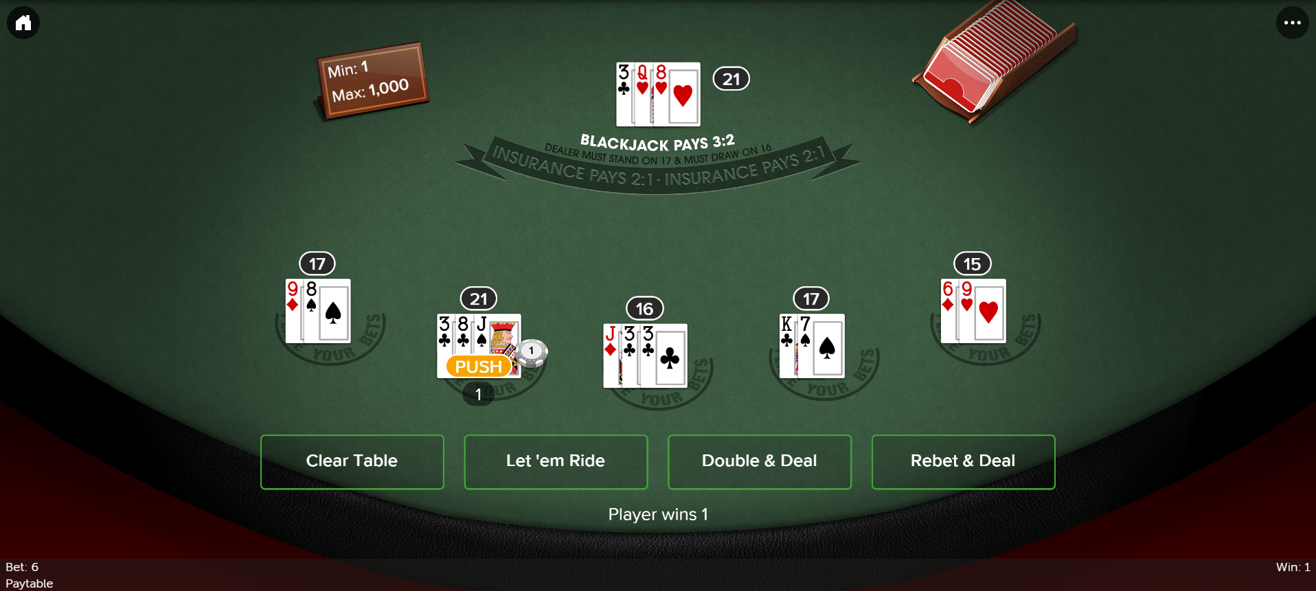 Tropicana NJ Online Blackjack