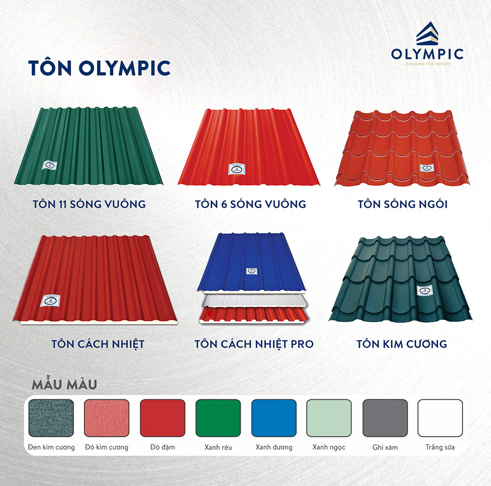 Các loại tôn lợp mái Olympic đa dạng về mẫu mã và màu sắc