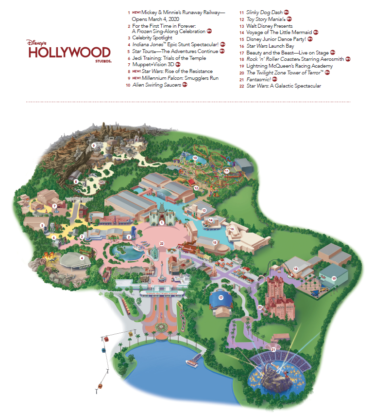 Disney's Hollywood Studios Map for attractions and rides provided by Heyday Travel Company