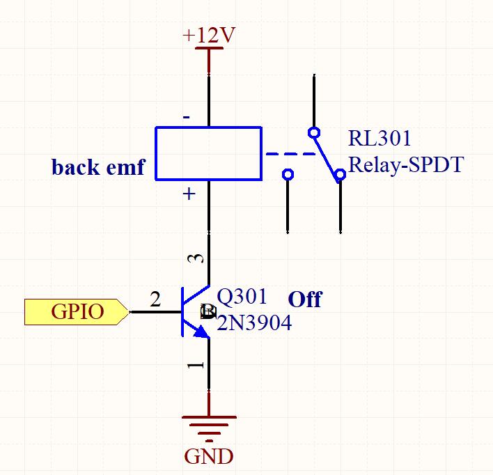 Ley de Lenz. Figura 3: el relé se desenergiza, produciendo fuerza contraelectromotriz