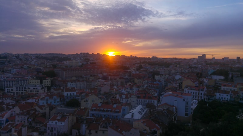 Sunset over Lisbon from Alfama in Portugal