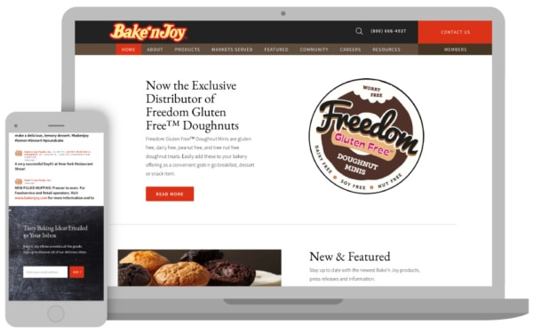 Bake n'joy homepage on computer and smart phone