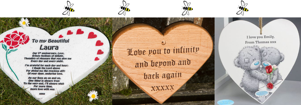 Valentines day heart gifts including wooden and corian hearts with heartfelt messages.