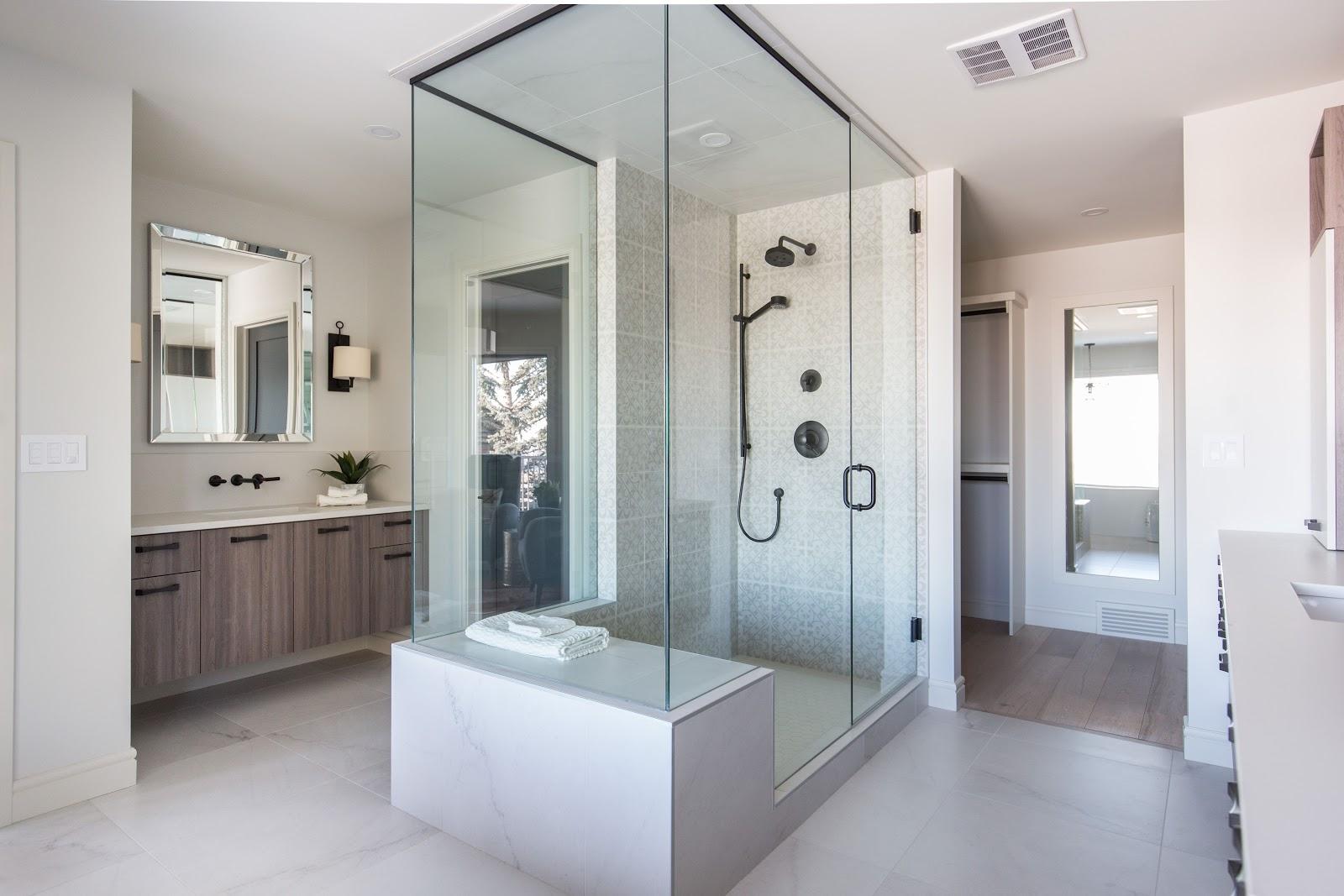 Calgary interior design modern traditional cosy elegant central shower neutral tones