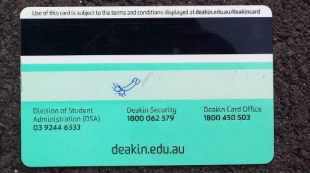 Tarjeta de estudiante de la Universidad de Deakin Jared Hyams '.