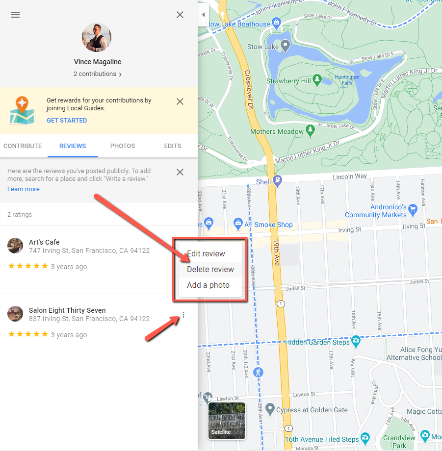 how to delete a Google review Step 4