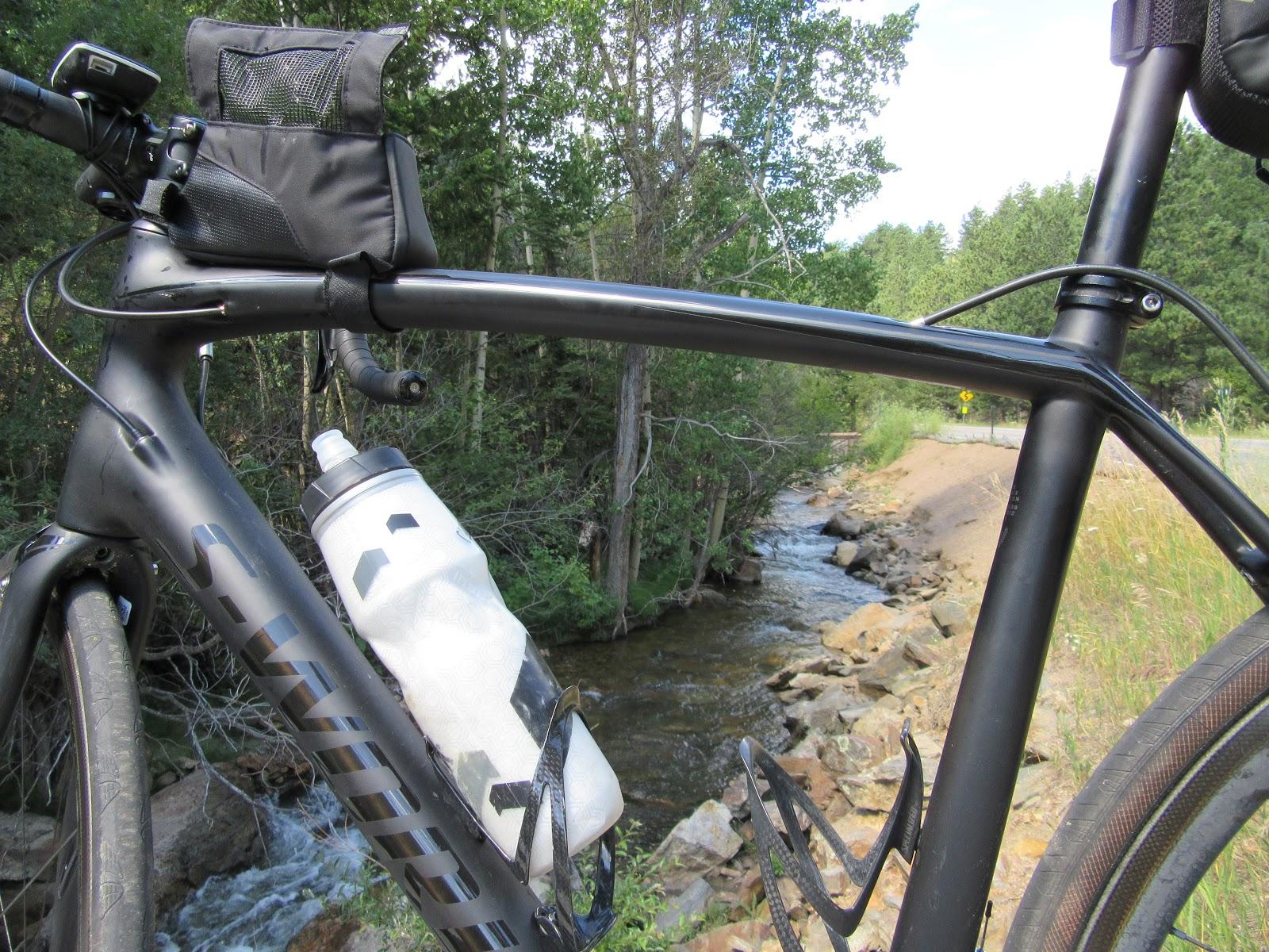 Bicycle ride up Left Hand Canyon - Left Hand Creek and bicycle on bridge