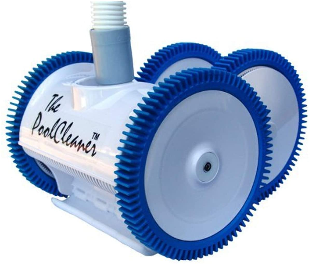 a light blue blue inground vacuum with dark blue wheels