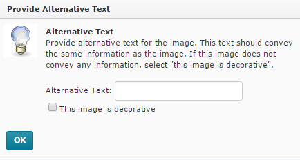 In D2L the user is prompted to provide alternative text.