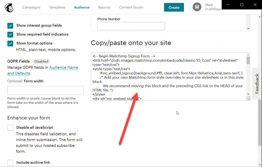 Now you're happy with the form and how you've set it up, copy the code and paste it onto your website.