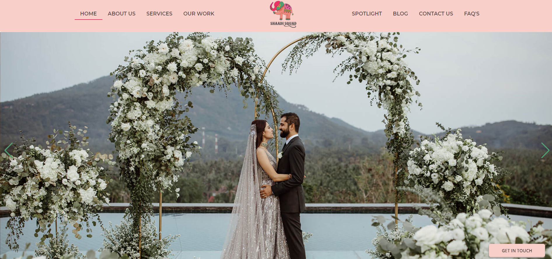 An homepage example of a event planning website