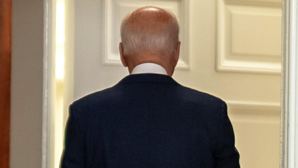 U.S. President Joe Biden departs after speaking in the Roosevelt Room of the White House in Washington, D.C., U.S., on Sunday, Aug. 22, 2021. Biden said the U.S. has expanded its evacuation efforts beyond the perimeter of the Kabul airport, warned of possible terror attacks and acknowledged that he may be forced to push back his deadline for leaving Afghanistan.