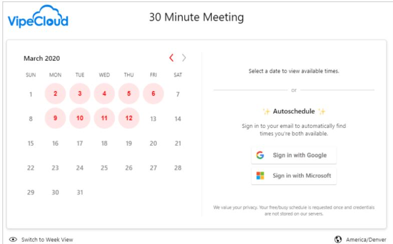 Screenshot of VipeCloud scheduler - a very helpful sales automation tool.