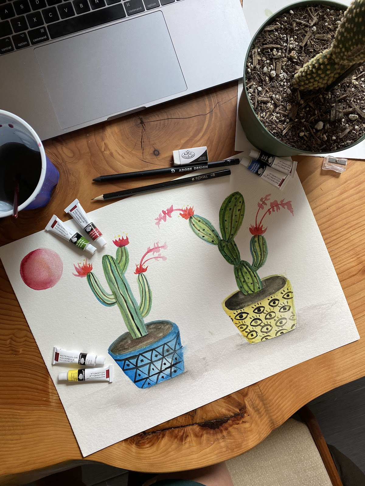 A watercolor painted by senior experience designer Cheryl Chang in a Jenny Lemons remote employee workshop.