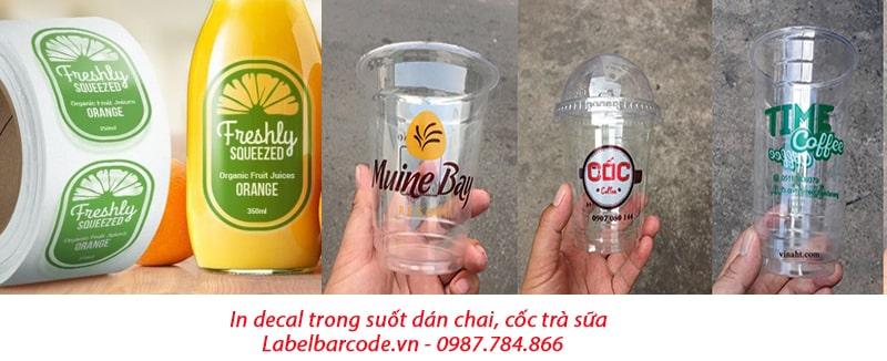 Tem decal trong suốt in tem sản phẩm đồ uống, nước ngọt
