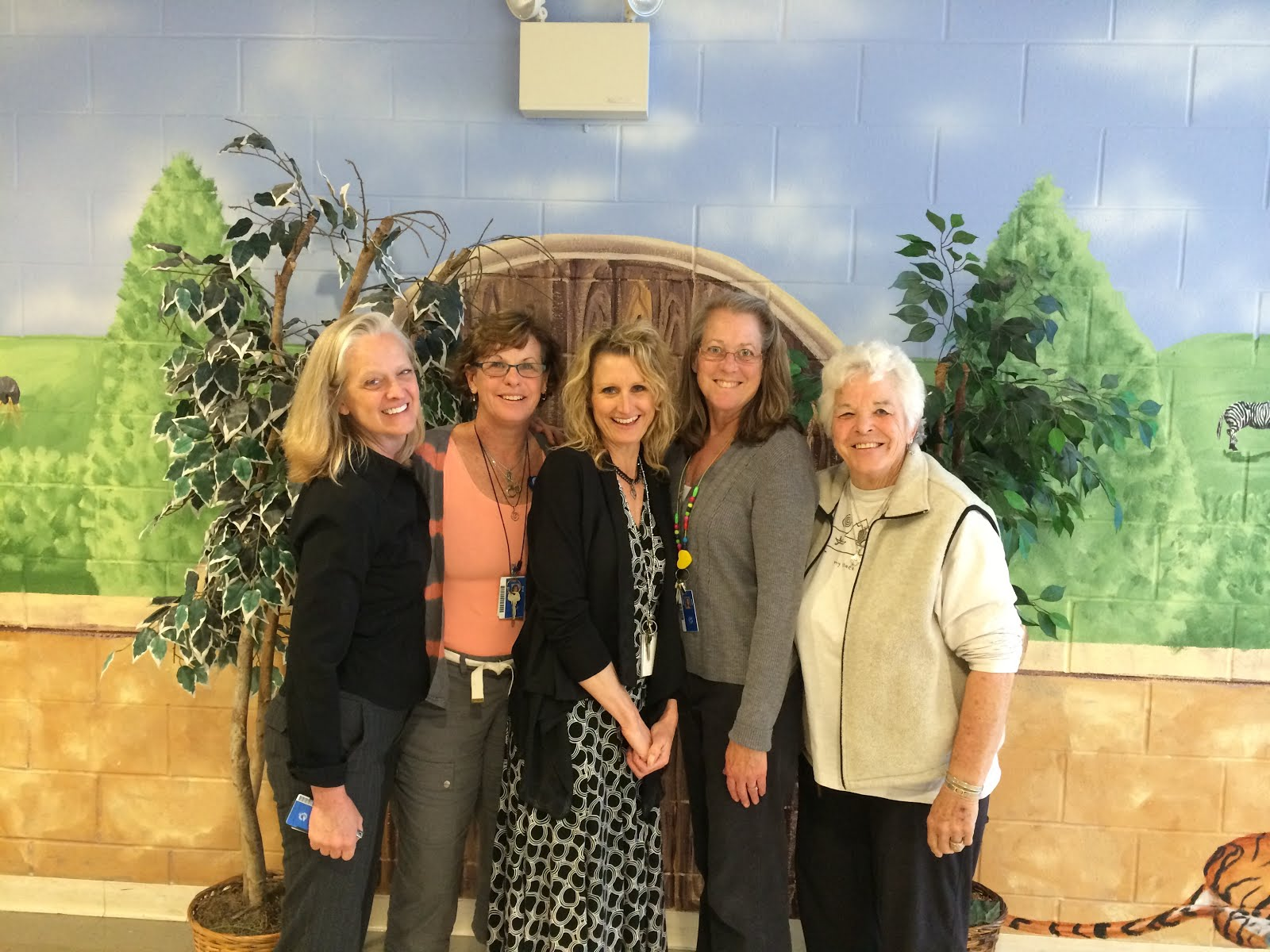 L-R: Hope McCarthy, Cathy Kitterman, Wendy Kirk, Fran O'Brien, and Sue Carpenter.