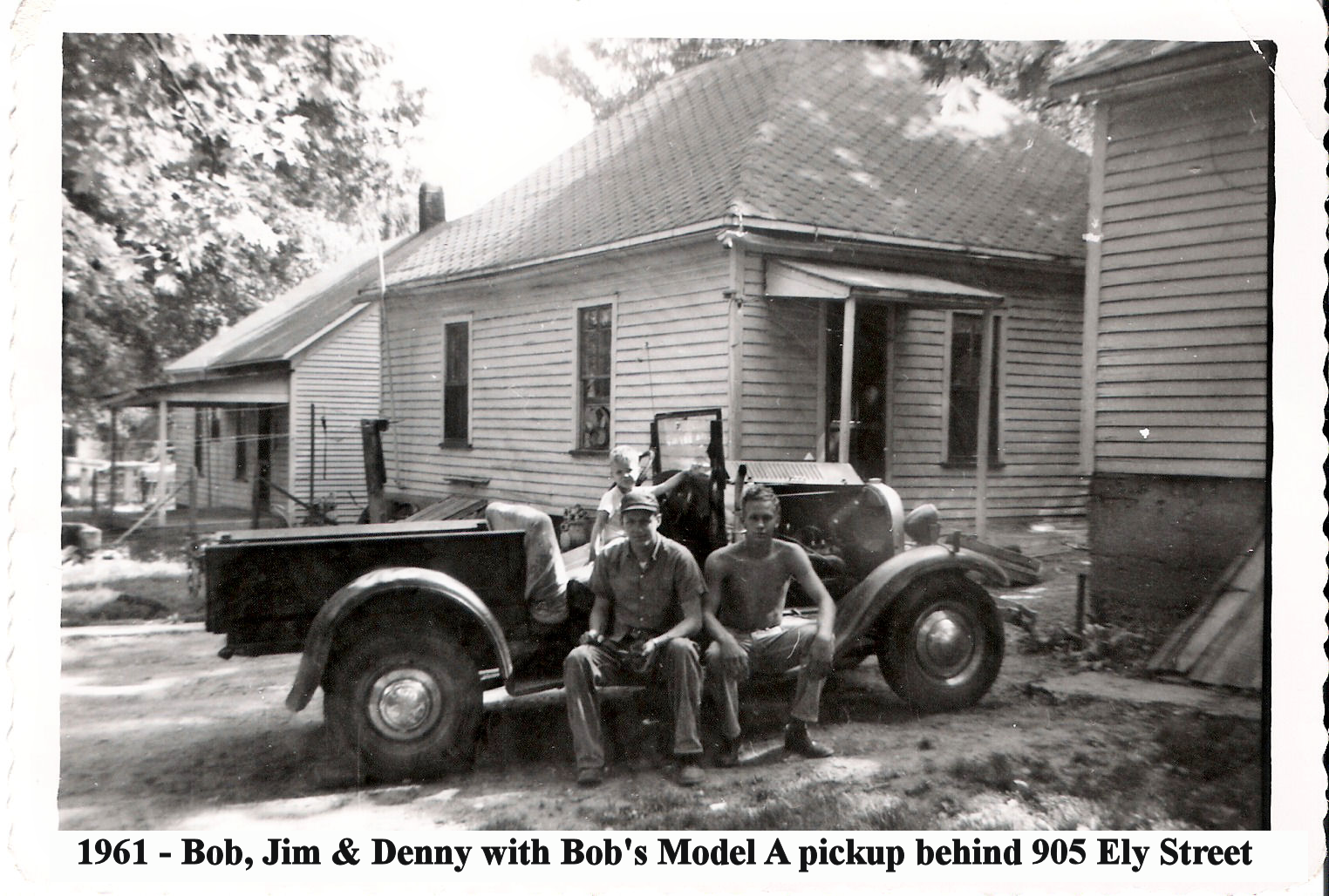 1961 905 Ely, Bob, Jim and Denny with Bob's Model A truck2.png