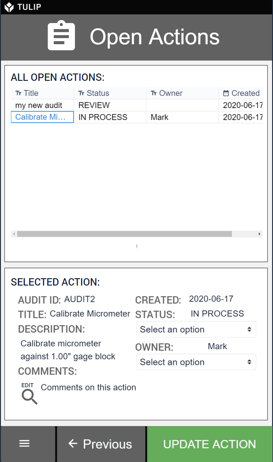 mobile audit applications let you see all of your open audits in one place