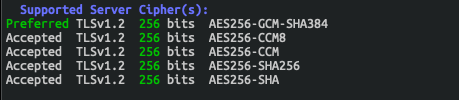 A fresh sslscan on docker-compose up list of Wipers (much smaller than the first list) by White Oak Security.