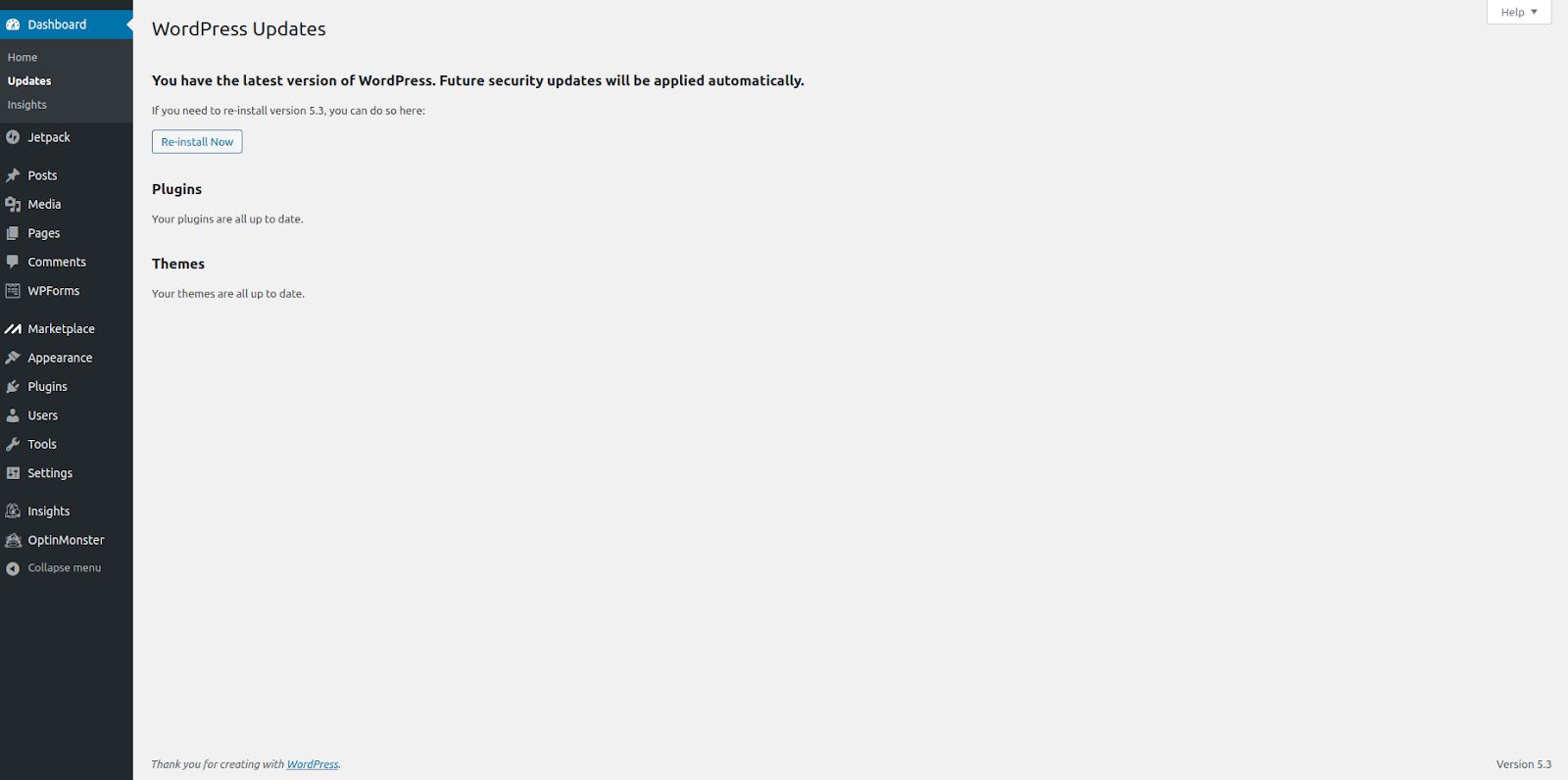 how to update wordpress site updated example