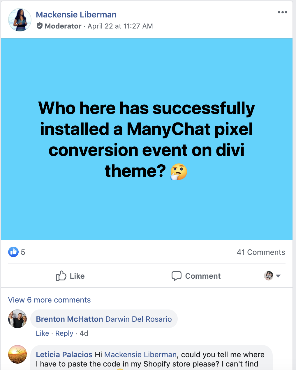 ManyChat Community on Facebook Post