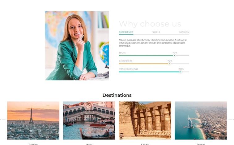 лучший бесплатный шаблон темы ботстрапа веб-сайт путешествия блоггер влиятельное агентство поездка