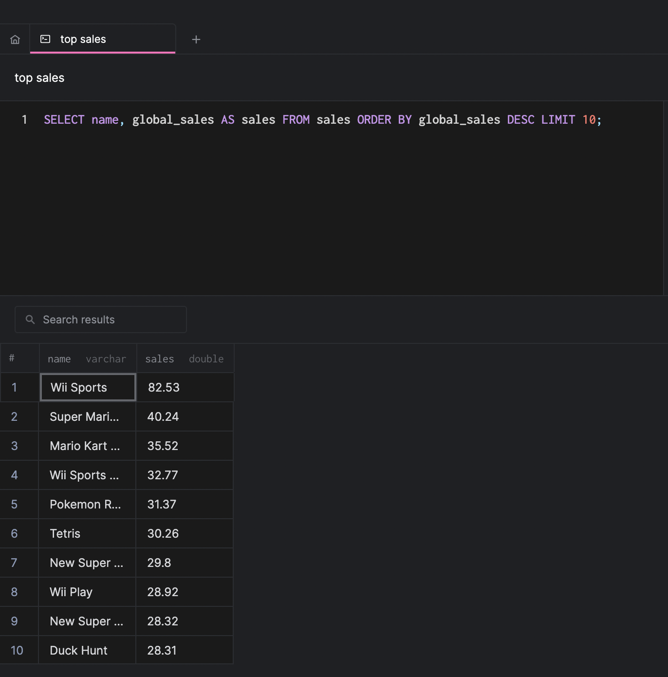 arctype sales query view with results