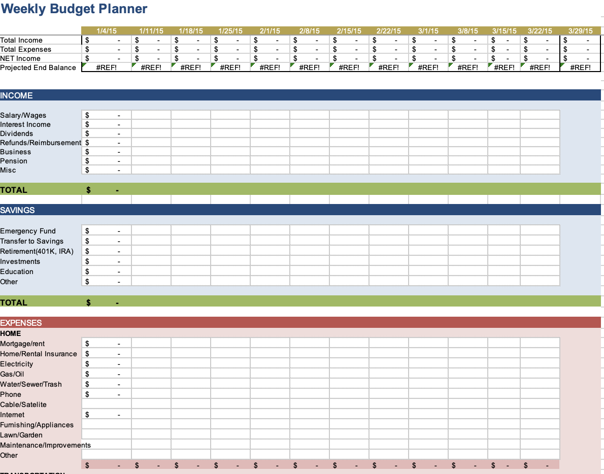 Weekly budget planner for Microsoft Excel