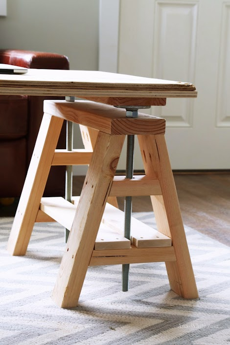 Ana White : Modern Indsutrial Adjustable Sawhorse Desk to Coffee Table - DIY Projects