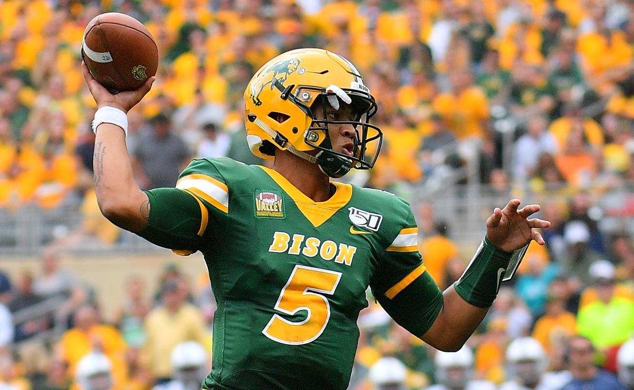 Quarterback Trey Lance #5 of the North Dakota State Bison passes against the Butler Bulldogs during their game at Target Field on August 31, 2019 in Minneapolis, Minnesota.