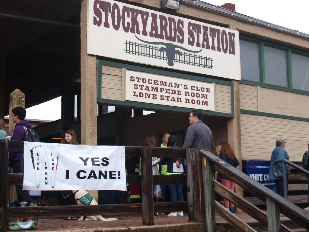 "Participants at the celebration enter Stockyards Station in Fort Worth. A sign has a picture of a folding cane with the words ""YES I CANE!"""