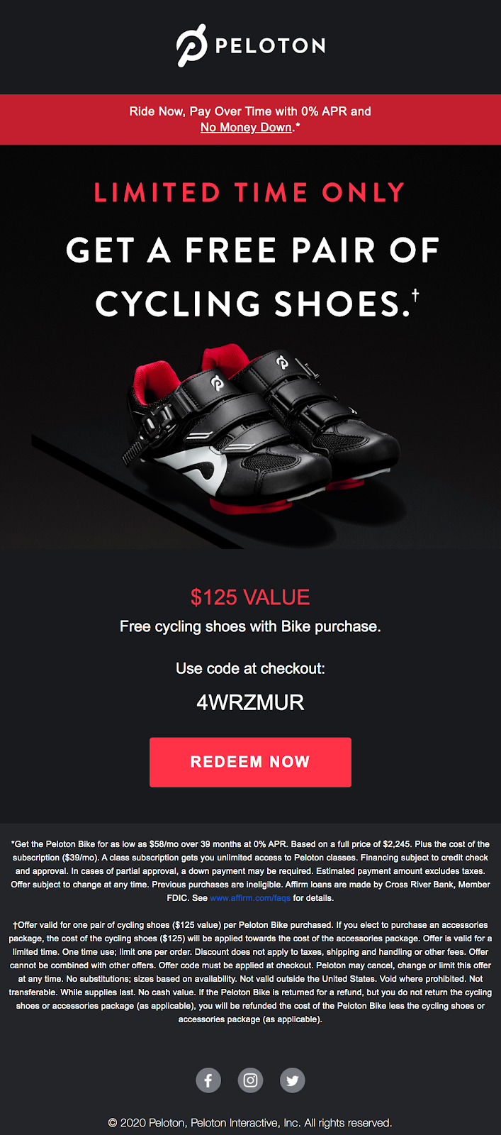 Peloton free shoes offer email
