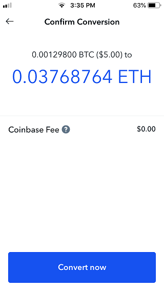 Coinbase confirm conversion screen.