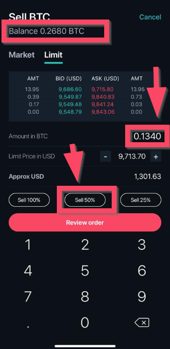 New order sample on Zipmex trading platform
