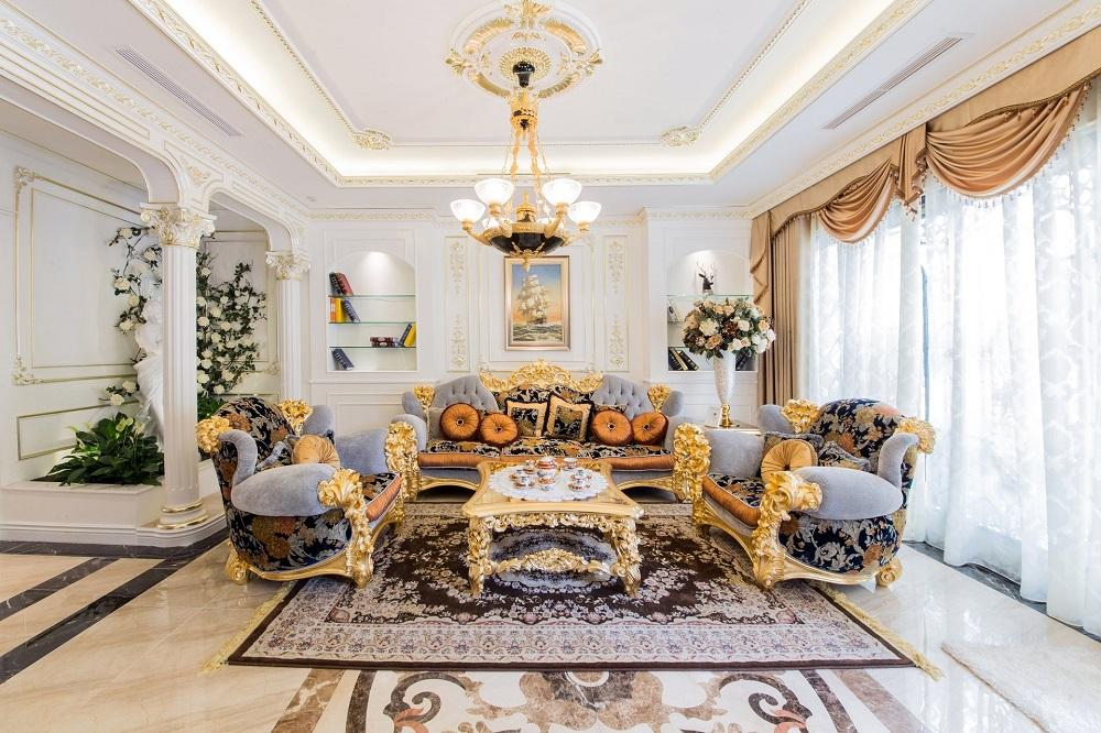 Mẫu phòng khách mang phong cách hoàng gia sang trọng
