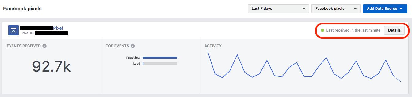 testing the Facebook pixel